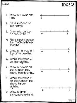 TEKS 3.3B - Fractions On A Number Line - Printables