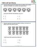 TEKS 3.3E Fair Shares | STAAR Practice Worksheet | TEKS Mastery