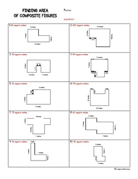 TEKS 3.6D Finding Area of Composite Figures Student Worksheet