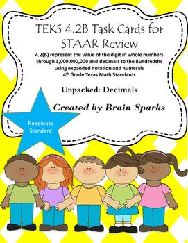 TEKS 4.2B Task Cards for STAAR Review - Decimals 4th Grade