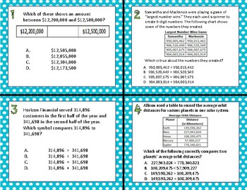 TEKS 4.2C Compare and Order Whole Numbers task cards