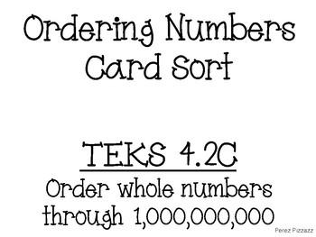TEKS 4.2C Ordering Numbers Card Sort