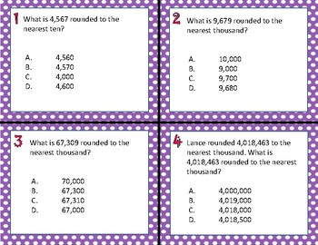 TEKS 4.2D Rounding Whole Numbers task cards