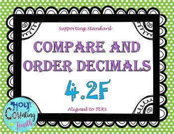 TEKS 4.2F Compare and Order Decimals task cards