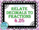 TEKS 4.2G Relate Decimals to Fractions task cards