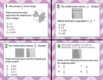 TEKS 4.2G Relate Decimals to Fractions task cards