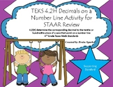 TEKS 4.2H Decimals on a Number Line Activity for STAAR Rev