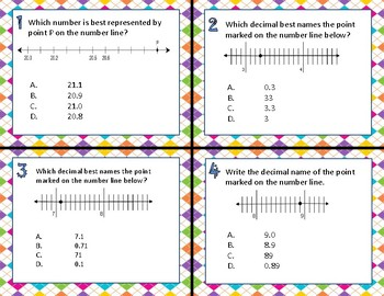 TEKS 4.2H Decimals on a Number Line task cards