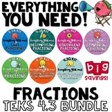 - TEKS 4.3 Bundle - FRACTIONS Everything you need for 4th grade fractions TEXAS