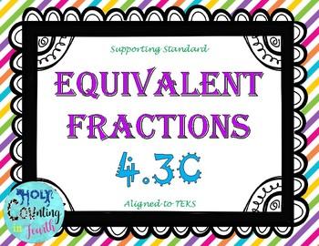 TEKS 4.3C Equivalent Fractions task cards