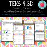 TEKS 4.3D: Comparing Fractions Task Cards