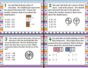 TEKS 4.3D Comparing Fractions task cards