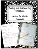 TEKS 4.3E Add and Subtract Fractions Notes