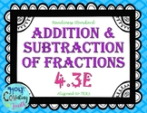 TEKS 4.3E Addition and Subtraction of Fractions task cards