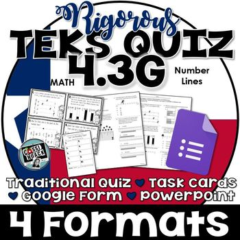 TEKS 4.3G Quiz- Rigorous Assessment of Decimals and Fractions on a Number Line