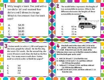 TEKS 4.4A Add & Subtract Whole Numbers & Decimals task cards