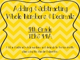 TEKS 4.4A Adding/Subtracting Decimals and Whole Numbers