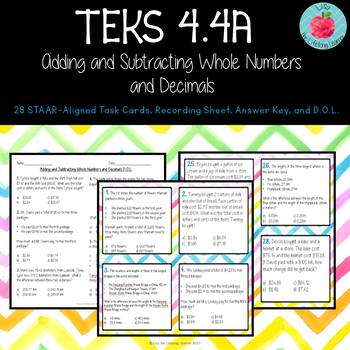 TEKS 4.4A: Adding and Subtracting Whole Numbers and Decimals Task Cards