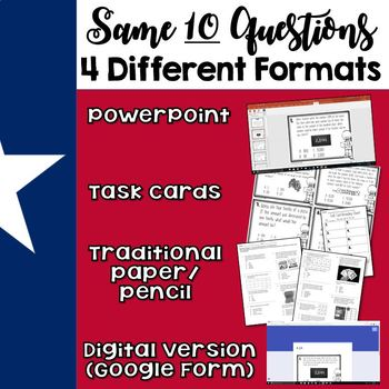 TEKS 4.4B Task Cards, PowerPoint, Google Forms Quiz, Paper Quiz