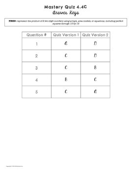 Mastery Quiz 4.4C: Multiplication Arrays, Area Models & Equations {TEKS 4.4C}