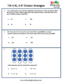 TEKS 4.4E, 4.4F Division Strategies   STAAR Practice   Worksheets