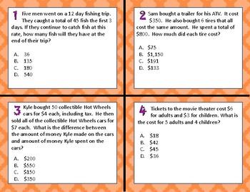 TEKS 4.4H Multiplication & Division 1-&2-Step Problems task cards