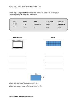 TEKS 4.5D Perimeter and Area Warm-Up, Practice and Quiz