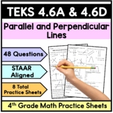 TEKS 4.6A and 4.6D Parallel and Perpendicular Lines- 4th Grade Practice Sheets