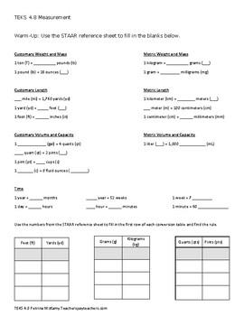TEKS 4.8 ABC Measurement Warm-up, Practice, Quiz