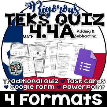 TEKS 4.4A Quiz- Rigorous Assessment of Add & Sub with decimals -GRADECAM ready!