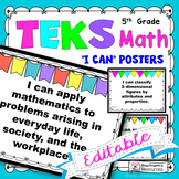 TEKS Posters 5th Grade Math I Can Statements