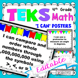 TEKS 4th Grade Math I Can Statements - Editable