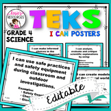 Science TEKS Posters 4th Grade TEKS I Can Statements