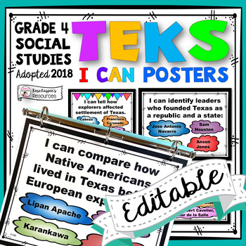 TEKS 4th Grade Social Studies I Can Statements