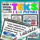 TEKS Posters 4th Grade Social Studies I Can Statements