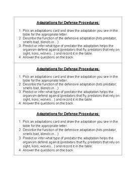 TEKS 5.10A Adaptations for Defense Lab Procedures