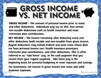 TEKS 5.10B Gross vs Net Income Personal Financial Literacy with Projects