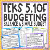 TEKS 5.10F Budgeting Personal Financial Literacy with Project