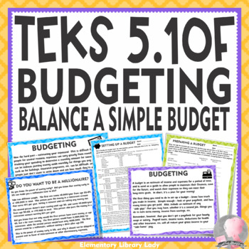 teks 5 10f budgeting personal financial literacy with project tpt