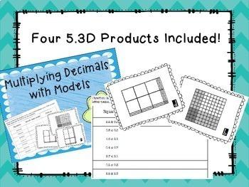 TEKS 5.3D Multiply Decimals with Models BUNDLE!!