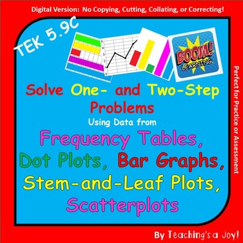 TEKS 5.9C:  Solve 1 & 2 Step Problems Using Data from Charts and Graphs--BOOM!