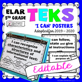TEKS Posters 5th Grade Reading and Writing TEKS I Can Statements