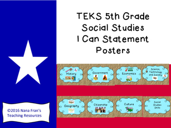 TEKS 5th Grade Social Studies I Can Statement Posters