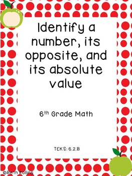 TEKS 6.2.B Identify a number, opposite, and absolute value