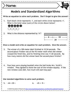 TEKS 6.3 Worksheets ⭐ Number & Operations: Add, Subtract, Multiply, & Divide ⭐