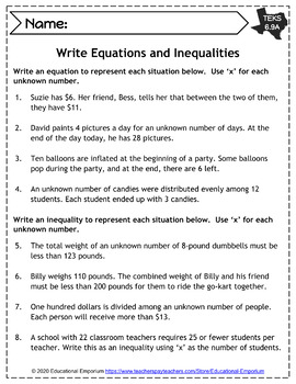 TEKS 6.9 Worksheets ⭐ Expressions, Equations, & Relationships: Inequalities ⭐