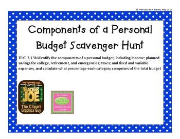teks 7 13b components of a personal budget scavenger hunt tpt