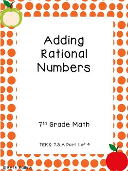 TEKS 7.3.A Adding Rational Numbers Part 1 of 4 Scavenger Hunt