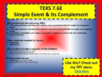 TEKS 7.6E Simple Event & Its Complement