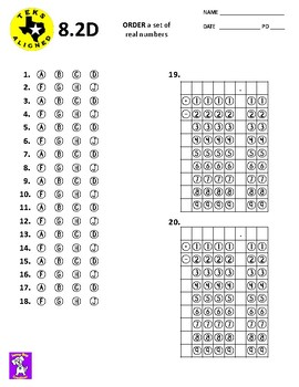 TEKS - 8.2D ORDER a set of real numbers
